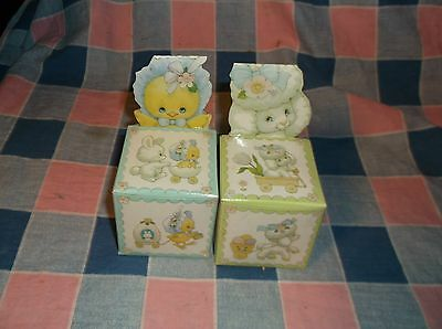 "Two Enesco Easter Parade Folded Box  Empty 3 7/8"" High at Back Fun Graphics"