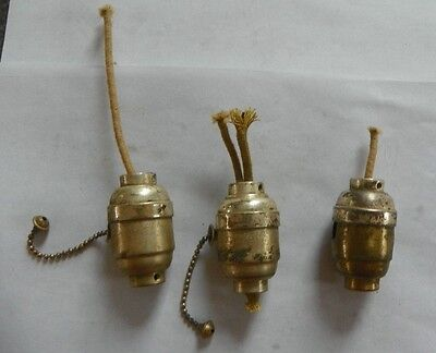 2 Antique Rare To Find Silver Plated Brass Pull Chain Switches W/ Xshell 2140