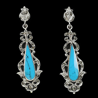 Silver 925 Genuine Marcasite and Turquoise Victorian Design Earrings #2