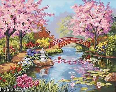 Japanese Garden Paint By Number Color Canvas Textured Print Reproduction
