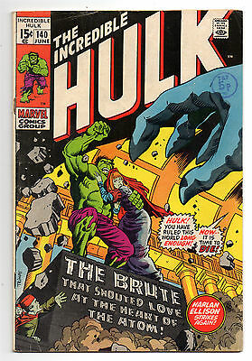 Incredible Hulk Vol 1 No 140 Jun 1971 (VG+toFN-) Harlan Ellison sty, 1st Jarella