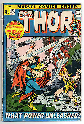 Thor Vol 1 No 193 Nov 1971 (VG+ to FN-) Double size, Silver Surfer appears
