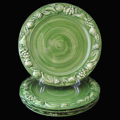 Faria Bento Les Fruits Green Charger Plates Fruit Edge Hand Painted Portugal 4
