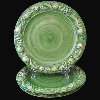 Faria Bento Les Fruits Green Charger Plates Fruit Edge Hand Painted Portugal 3