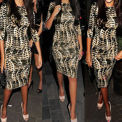 Women Tribal Celeb Animal Leopard Print Long Midi Pencil Lady Bodycon Soft Dress