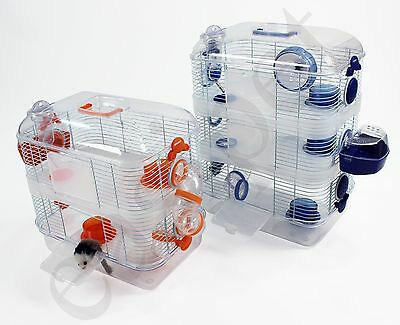 Large Hamster Gerbil Mouse Small Pet Cage Transparent Clear 2 or 3 Storey Levels