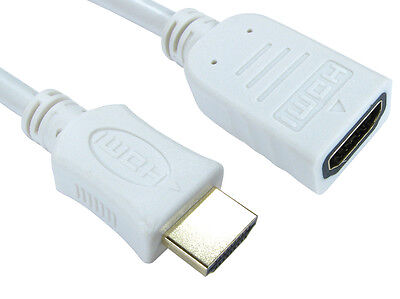 5m Long HDMI EXTENSION Cable Male to Female 3D UHD TV High Speed WHITE
