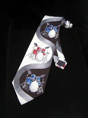 NEW DRUMS SET MUSICAL INSTRUMENT NECKTIE MUSIC BAND BLUE RED WHITE BLACK TIE