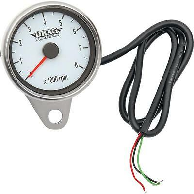 """Drag Specialties Mini Electronic 8000 RPM Tachometer 2.4"""" Polished 