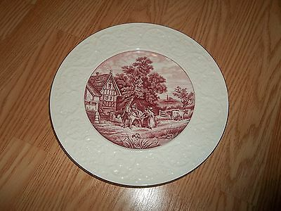 "Large Coalport Kings Ware ""Pastoral"" 11 1/8"" Red Charger Round Platter England"