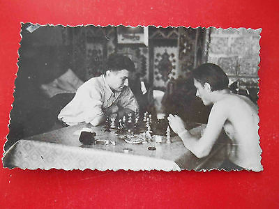 CHESS USSR Men play in chess. Real photo.