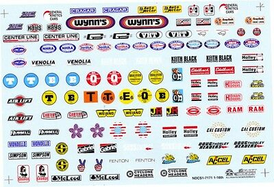 #7171 SLIXX NHRA FENDER LOGOS 1/16th Scale WATERSLIDE DECALS Slixx 1/16th