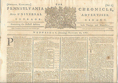 Pennsylvania Chronicle Newspaper American Revolutionary War Colonial Boston