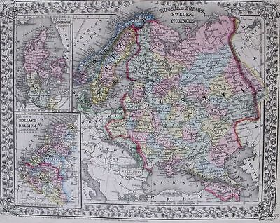 1871 MITCHELL MAP: HOLLAND BELGIUM SWEDEN NORWAY RUSSIA. HAND-COLORED ENGRAVING.