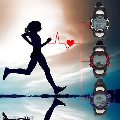 Sports Pulse Heart Rate Monitor Fitness StopWatch Pedometer Calorie Exercise New