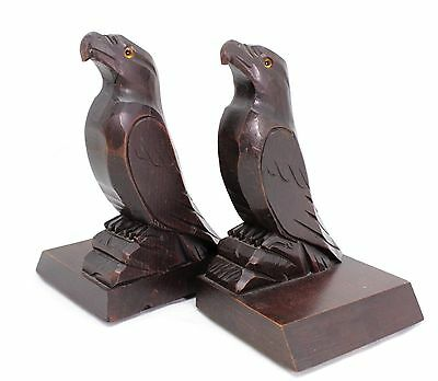 antique or art deco Bookends, carved wooden Eagle, poss. Black Forest carving