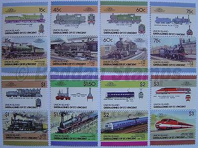1986 UNION ISLAND Set #5 Train Locomotive Railway Stamps (Leaders of the World)