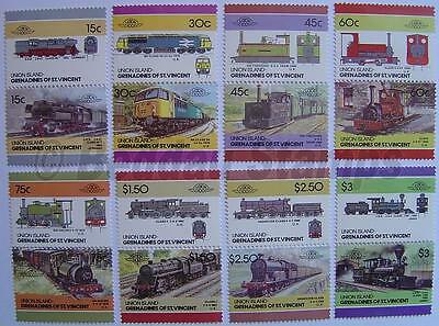 1986 UNION ISLAND Set #4 Train Locomotive Railway Stamps (Leaders of the World)