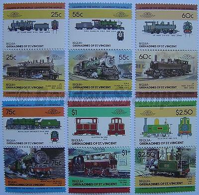 1985 BEQUIA Set #4 Train Locomotive Railway Stamps (Leaders of the World)
