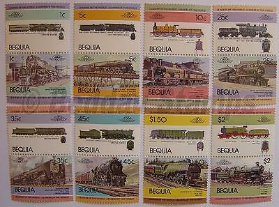 1984 BEQUIA Set #1 Train Locomotive Railway Stamps (Leaders of the World)