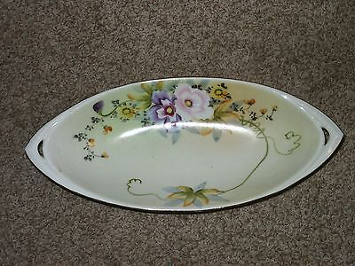 Vintage Nippon Hand Painted Celery Relish Dish Gorgeous Flowers