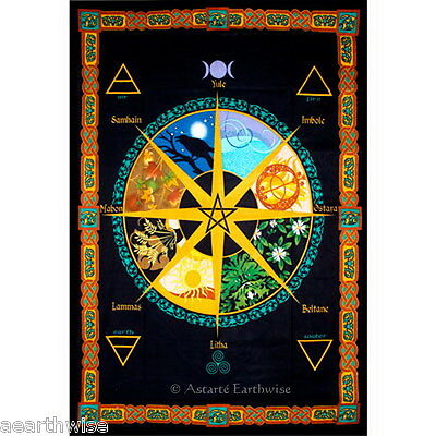 BED SPREAD: PAGAN CALENDAR Wicca Pagan Witch Goth  ALTAR CLOTH WALL HANGING