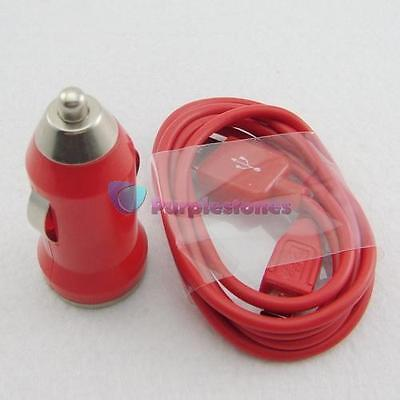 Red 2in1 Mini Car Charger+Micro USB Data Cable kit For GPS Galaxy sensation 9100
