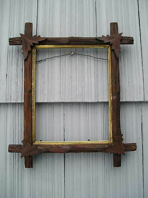 Antique Victorian Old Adirondack Black Forest Leaf Corner Picture Frame 8 x 10