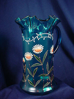"VICTORIAN BLUE  SATIN ENAMELED PITCHER 9 1/2"" DAISIES RUFFLED  TOP"