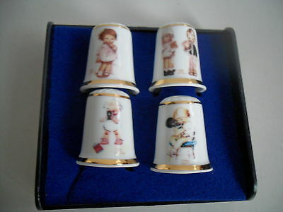 SET OF4 CARLTON WARE MABEL LUCIE ATTWELL THIMBLES  LTD EDITION  PERFECT