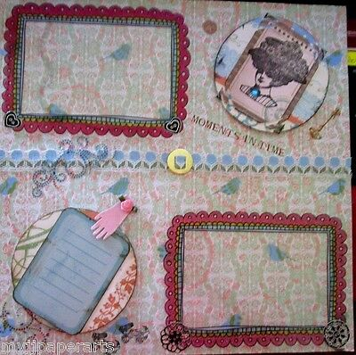 """Scrapbook Pre-made Vintage Page 12"""" 3D  12"""" lace,key glove rose acrylic frames"""