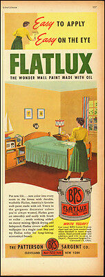 1951 vintage AD, BPS 'Flatlux' one coat oil based wall paint  (061114)