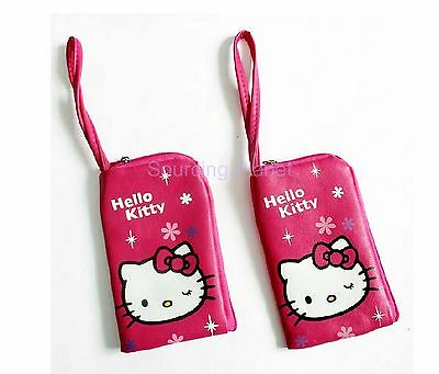 2 x Hello Kitty Face Pink Zipper Makeup Cosmetic Phone Case Pouch Bag 2502060342