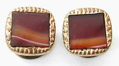 Small Victorian Edwardian Banded Agate Cuff Links Orange Tones