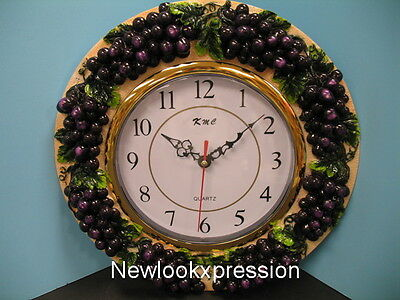 3D Grape wall clock Home Kitchen VineyardToscan Wine Decor Bar Fruit NEW set.