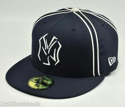 8021ddcff88 New Era 59Fifty Hat MLB New York Yankees Mens Navy Blue Trace Fitted 5950  Cap