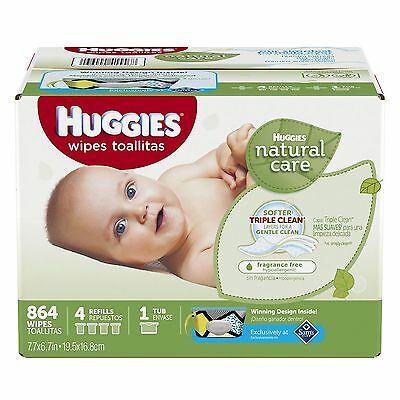 Huggies Natural Care Baby Wipes 864 ct. Triple Clean, Fragrance & Alcohol Free!