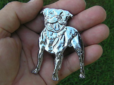 UK ~ STAFFY DOG BADGE Chrome Motorcycle Emblem *NEW UNIQUE suit HARLEY DAVIDSON