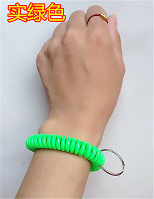 New in Sealed Bag 50pcSpiral Wrist Coil Key Chains Free shipping Dark green