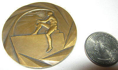 Antique H. Dubois French Bronze Medal Coin Sport Art Deco Nude Man Sun Athlete
