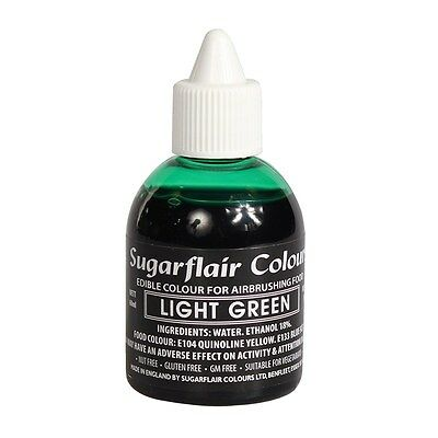 LIGHT GREEN Sugarflair Edible Food Colour Liquid For Airbrushing Cake Decorating