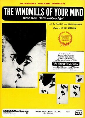 THE WINDMILLS OF YOUR MIND STEVE MCQUEEN FAYE DUNAWAY 1968 VINTAGE SHEET MUSIC
