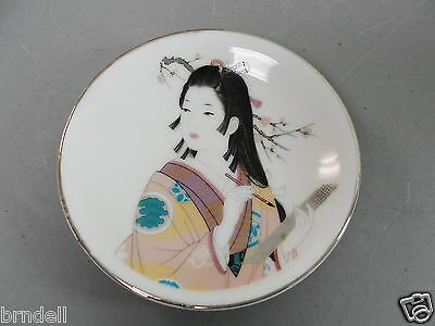 """JAPAN DECORATIVE MINI DISH PLATE JAPANESE GIRL WRITING SIGNED NOT FOR EXPORT 4"""""""