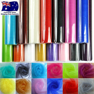 48cm x10m Crystal Sheer Organza Fabric DIY Tulle Roll Wedding Party Decoration