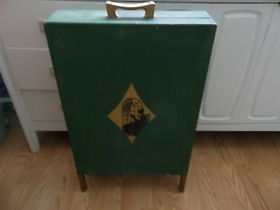 Vintage Standing Green Victorian Wood Sewing Box