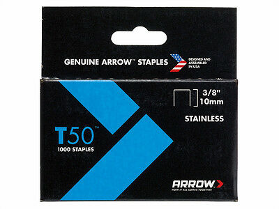 ARROW T50 RUST RESISTANT STAINLESS STEEL STAPLES - All Sizes - Packs of 1000
