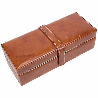 Mele Brown Faux Leather 4 Watch Box Storage Display Jewellery Case Gifts For Men