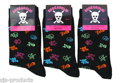 3 Pairs Of New Womens/ladies/girls Skull And Crossbones Novelty Uk Size 4 To 6