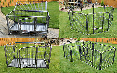 New Heavy Duty Cage Dog Box Puppy Run Whelping Playpen Pet Pen Enclosure Kennel