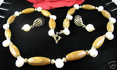 Picture Jasper & Pearl Necklace Earrings Set CAT RESCUE